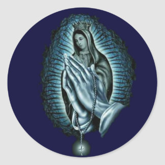 Purple Prayer Blessed Virgin Mary Round Sticker