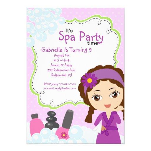 Purple Pretty Girl Spa Birthday Party Personalized Invitation