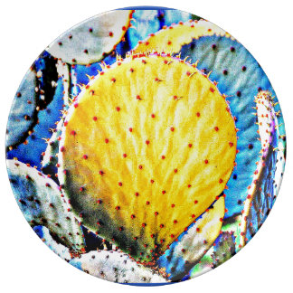 Purple Prickly Pear Cactus Plate