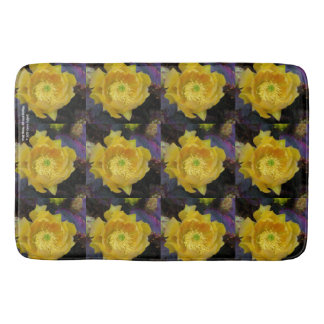Purple prickly pear opuntia cactus yellow flowers bath mat
