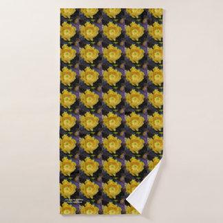 Purple prickly pear opuntia cactus yellow flowers bath towel