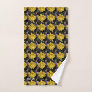 Purple prickly pear opuntia cactus yellow flowers hand towel