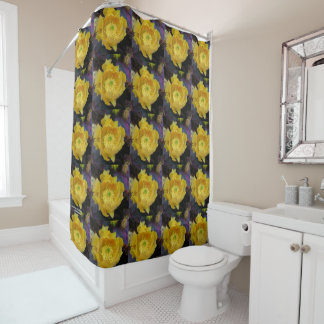 Purple prickly pear opuntia cactus yellow flowers shower curtain