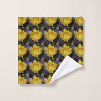 Purple prickly pear opuntia cactus yellow flowers wash cloth