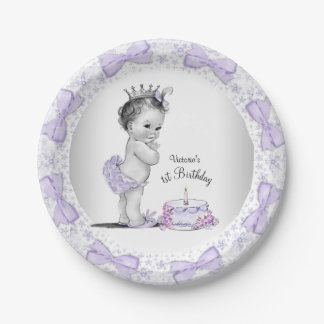 Purple Princess 1st Birthday Party Paper Plate