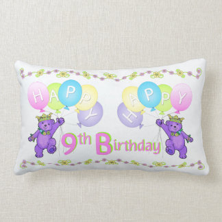 Purple Princess Bears 9th Birthday Cushions