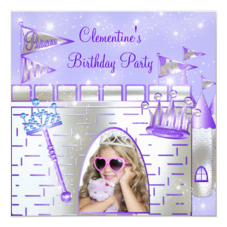 Purple Princess Birthday Party Card