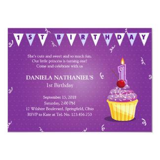 Purple Princess' Cupcake 1st Birthday Party Invite