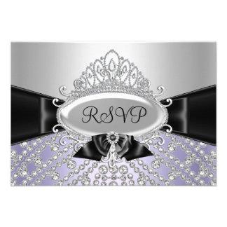 Purple Princess Diamond Tiara Bow RSVP Invite