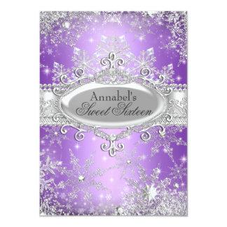 "Purple Princess Winter Wonderland Sweet 16 Invite 4.5"" X 6.25"" Invitation Card"