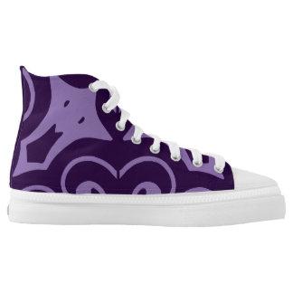 Purple printed designer sneakers