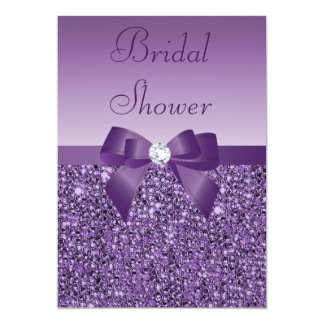 Purple Printed Sequins Bow & Diamond Bridal Shower 13 Cm X 18 Cm Invitation Card