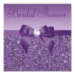Purple Printed Sequins Bow & Diamond Bridal Shower 13 Cm X 13 Cm Square Invitation Card