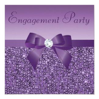 Purple Printed Sequins Bow & Diamond Engagement 13 Cm X 13 Cm Square Invitation Card