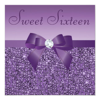 Purple Printed Sequins Bow & Diamond Sweet 16 13 Cm X 13 Cm Square Invitation Card