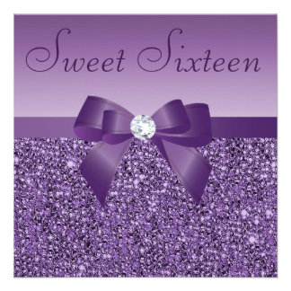 Purple Printed Sequins Bow & Diamond Sweet 16 Invites