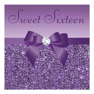 Purple Printed Sequins Bow Diamond Sweet 16 Invites