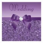 Purple Printed Sequins Bow & Diamond Wedding Custom Invite