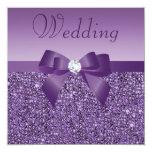 Purple Printed Sequins Bow & Diamond Wedding Invitation