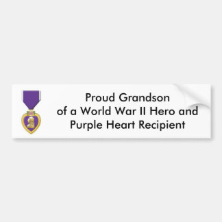 purple, Proud Grandson of a World War II Hero a... Bumper Sticker
