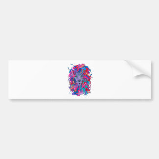Purple Psychedelic Lion Bumper Sticker