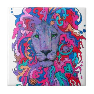 Purple Psychedelic Lion Ceramic Tile