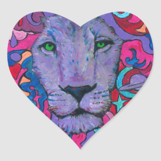 Purple Psychedelic Lion Heart Sticker