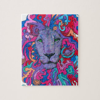Purple Psychedelic Lion Jigsaw Puzzle