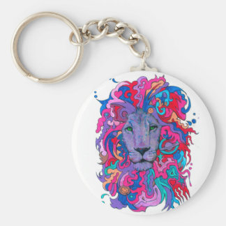 Purple Psychedelic Lion Key Ring
