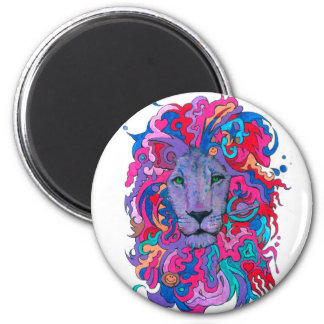 Purple Psychedelic Lion Magnet