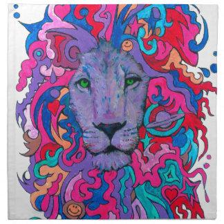 Purple Psychedelic Lion Napkin