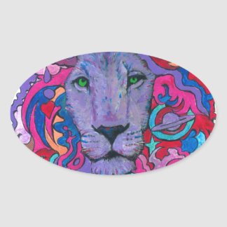 Purple Psychedelic Lion Oval Sticker