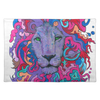 Purple Psychedelic Lion Placemat