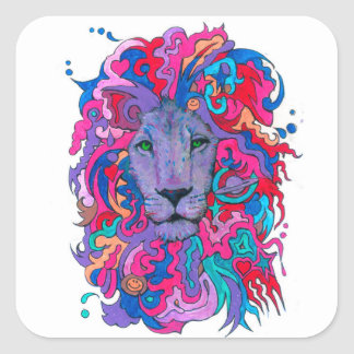 Purple Psychedelic Lion Square Sticker