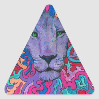 Purple Psychedelic Lion Triangle Sticker