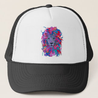 Purple Psychedelic Lion Trucker Hat