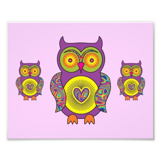 Purple Psychedelic Owl Photo Print