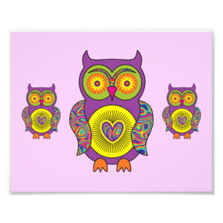 Purple Psychedelic Owl Photograph