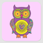 Purple Psychedelic Owl Square Stickers