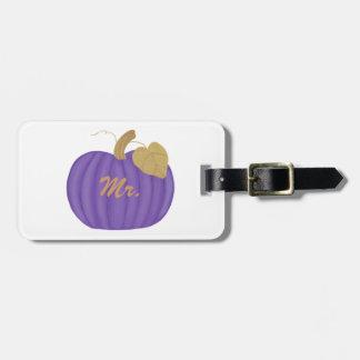 Purple Pumpkin Gold Leaf Mr. Luggage Tag