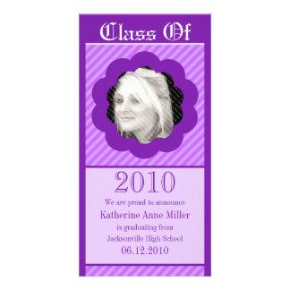 Purple Punk Cookie Cut Out Graduation Photo Card