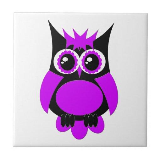 Purple Punk Owl Tile