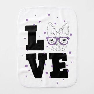 Purple Puppy Love Burp Cloth