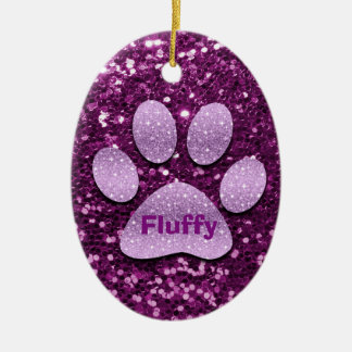 Purple Puppy Paw Faux Glitter Ceramic Oval Decoration