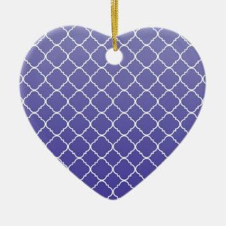 Purple Quatrefoil Ceramic Heart Decoration