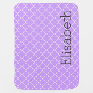 Purple Quatrefoil Custom Name Baby Blanket