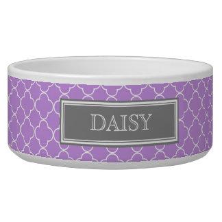 Purple Quatrefoil Custom Name Dog Bowl