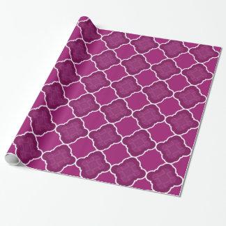 Purple Quatrefoil Geometric Pattern Wrapping Paper