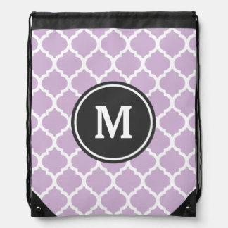 Purple Quatrefoil Monogram Drawstring Bag