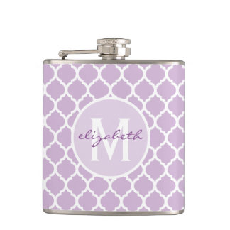 Purple Quatrefoil Monogram Hip Flask
